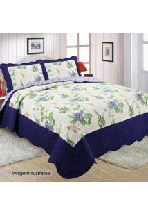 Conjunto De Colcha Patchwork Lia Queen Size- Azul Marinhsultan