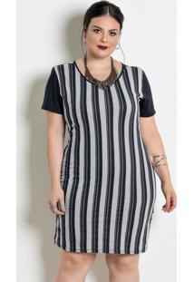 Vestido Com Contrastes Plus Size Listrada/Preta