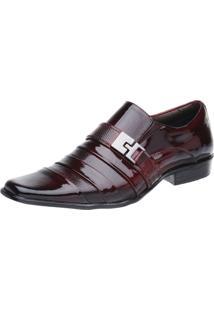 Sapato Social Malbork Em Couro Verniz Dark Red 232 Preto/Vermelho