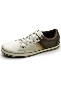 Sapatênis Couro Top Franca Shoes Masculino - Masculino-Branco+Café