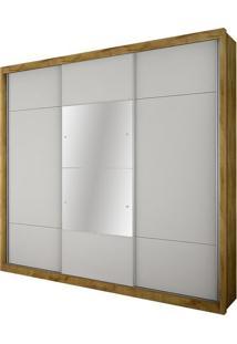 Guarda Roupa Arezzo Gold 3 Portas Com Espelho Freijo Dourado/Branco