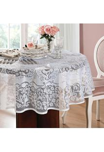Toalha De Mesa Redonda Rosas Branca (160X160)