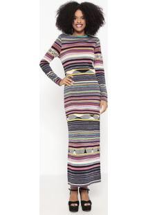 Vestido Longo & Listrado Em Tricô - Preto & Roxo - Wwool Line