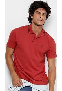 Camisa Polo Cavalera Piquet Frisos Masculina - Masculino-Vinho