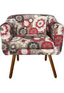 Poltrona Decorativa Julia Estampado Floral Vermelho D32 Com Strass - D'Rossi