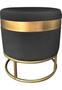Puff Enjoy Luxo Veludo Preto Base Dourada - D'Rossi