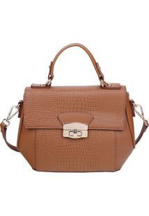 Bolsa Transversal Com Textura - Caramelo - 20X29X11,Fellipe Krein
