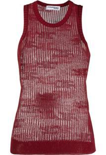 Courrèges Sheer Knitted Vest Top - Vermelho