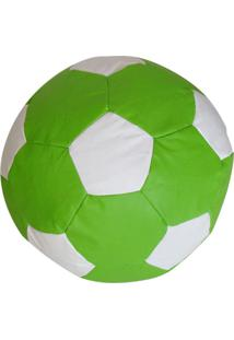 Puff Big Ball Futebol Corino Verde E Branco