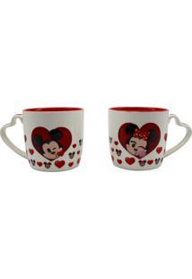 Kit Com 2 Canecas Com Alça Coração Mickey E Minnie Emoji 300 Ml