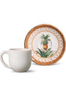 Xícara De Café Com Pires Coup Pineapple Colorida