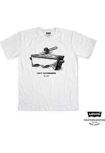Camiseta Levis Man Skateboarding Estampa Collab - Masculino-Branco