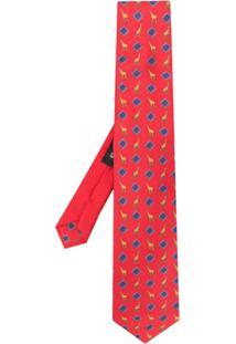 Etro Gravata Com Estampa De Girafa - Vermelho