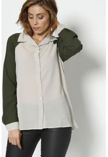 ... Camisa Bicolor - Bege Claro   Verde Militar - Le Drele Dress b5f5a036cc3c3