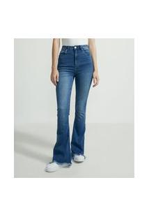 Calça Flare Jeans Com Ondinhas Desfiadas Na Barra   Blue Steel   Azul   36