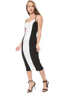 Vestido Triton Midi Recorte Preto/Branco