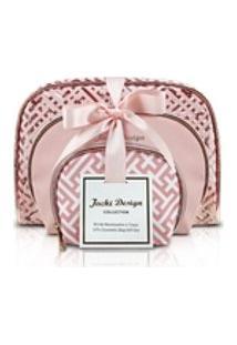 Kit De Necessaire Rosa 3 Peças Diamantes Jacki Design Rosa