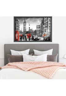 Quadro Love Decor Com Moldura Big Ben Tower Grafitti Metalizado Médio