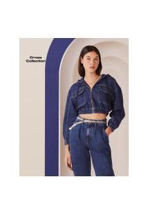 Amaro Feminino Jaqueta Jeans 7/8 Com Capuz, Azul Indigo