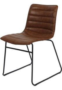 Cadeira Budd Assento Courino Marrom Com Base Aco Preto - 48056 - Sun House