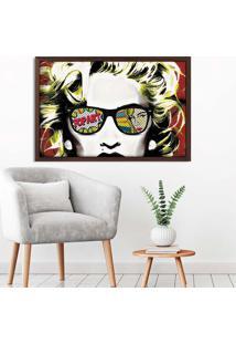 Quadro Love Decor Com Moldura Madonna Em Pop Art Madeira Escura Grande