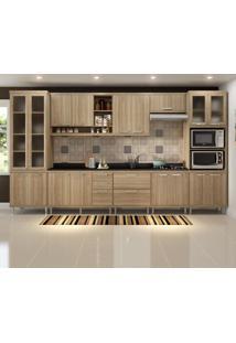 Cozinha Compacta 17 Portas Com Tampo E Vidro 5807 Argila - Multimóveis