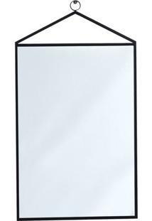 Espelho Geomã©Trico Com Alã§A- Espelhado & Preto- 96X5Mart