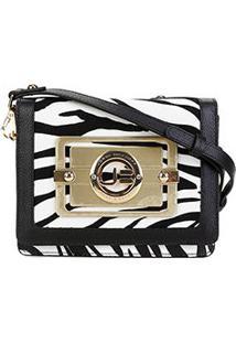 Bolsa Couro Jorge Bischoff Mini Bag Animal Print Feminina - Feminino-Branco+Preto