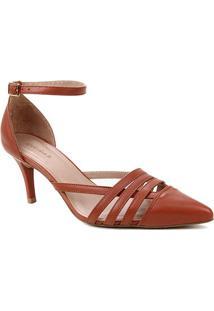 Scarpin Couro Shoestock Bico Fino Tiras E Pulseira - Feminino-Caramelo