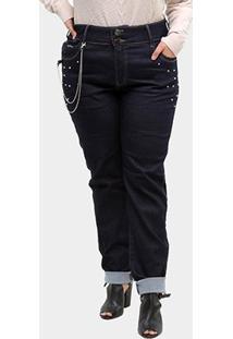 Calças Jeans Xtra Charmy Strass Plus Size Cintura Média Feminina - Feminino-Azul