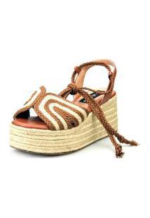 Anabela Espadrille Love Shoes Plataforma Corda Amarrar Caramelo