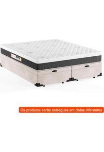 Cama Box Queen Premium Com Baú Suede Pena Bege Com Colchão Black White D45 Branco