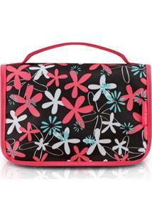 Necessaire De Viagem Jacki Design Nylon - Feminino-Pink+Preto