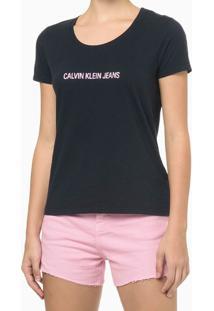 Blusa Feminina Básica Slim Logo Azul Marinho Calvin Klein Jeans - G
