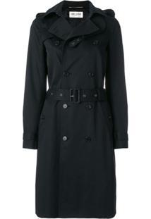 Saint Laurent Trench Coat Com Cinto - Preto