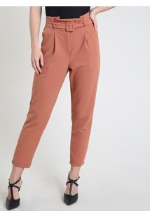 Calça Feminina Carrot Clochard Alfaiatada Cintura Alta Com Cinto Cobre