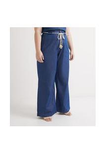 Calça Pantalona Jeans Com Cinto Corda Curve & Plus Size   Ashua Curve E Plus Size   Azul   54
