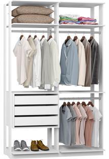 Closet Modulado 3 Gavetas E 3 Cabideiros Clothes 9013 – Be Mobiliário - Branco