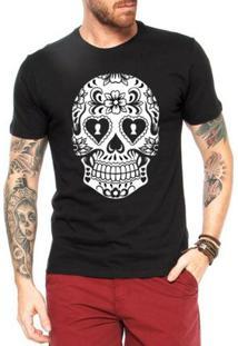 Camiseta Criativa Urbana Caveira Mexicana Cartas - Masculino-Preto