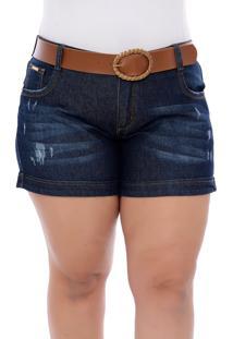 Short Jeans Plus Size Azul Paula