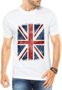 Camiseta Criativa Urbana Bandeira Londres - Masculino-Branco