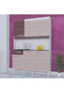 Cozinha Compacta 6 Portas 1 Gaveta Kit Carine 466 Amêndoa/Capuccino - Poquema