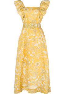 Nicholas Vestido Com Estampa Paisley E Cinto - Amarelo