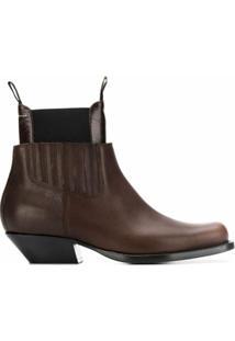 Mm6 Maison Margiela Ankle Boot Com Recortes - Marrom