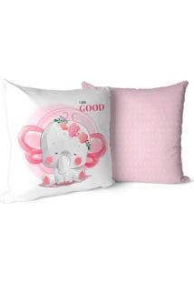 Kit 2 Capas Para Almofadas Decorativas Elefante Girl Baby Cute 45X45Cm.