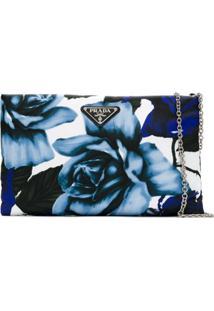 Prada Bolsa Clutch Com Estampa Floral - Azul