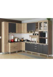 Cozinha Completa Multimóveis Com 9 Peças Sicília 5802 Argila/Grafite