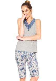 Pijama Bela Notte Floral Cinza/Bege/Azul