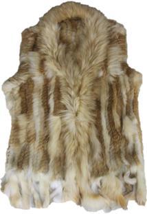 Colete Alegra Eastern Fur Com Franjas Marrom