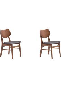 Kit 02 Cadeiras Edna Nogueira Preta Rivatti